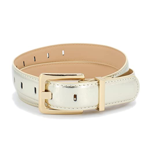 42191e4a4ff Classic Square Oval Buckle Belt with Metal Loop (GOLD) at Amazon ...