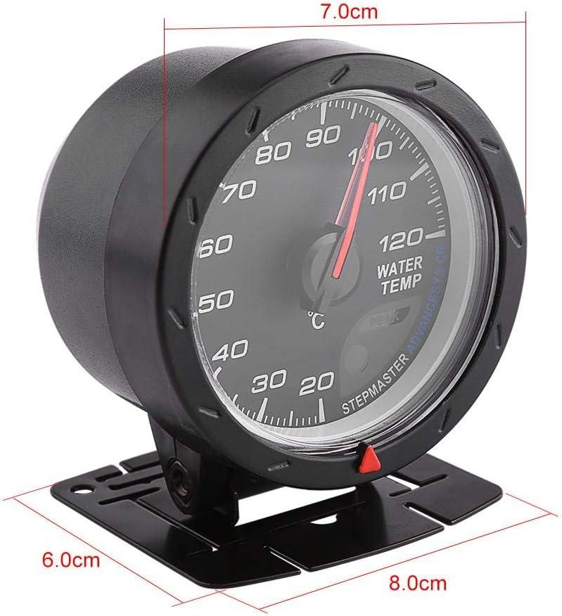 Cocoarm Manom/ètre Universel de temp/érature de leau 12 V avec Coque Noire 60 mm LED pour Voiture lumi/ère Rouge et Blanche temp/érature de leau 20-120/°C