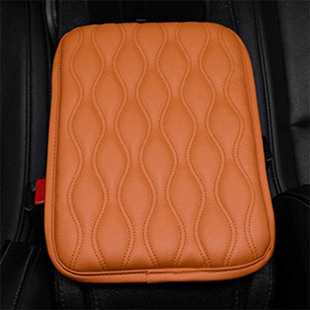 Forala Auto Center Console Pad,PU Leather Car Armrest Seat Box Cover Protector Protects from Dirt,Damage,Pet Scratches,Old Damaged Consoles Beige