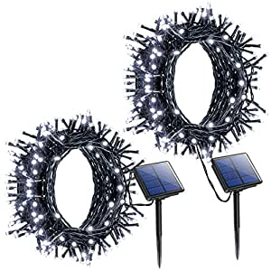 Litom Outdoor Solar String Lights 200 LED Solar Decorative Power Light with 8 Working Modes [2 Pack]