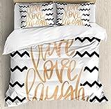 Ambesonne Live Laugh Love Decor Duvet Cover Set Queen Size, Motivational Calligraphic Art with Zigzags Chevron Stripes, Decorative 3 Piece Bedding Set with 2 Pillow Shams, Black White Peach