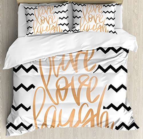 - Ambesonne Live Laugh Love Decor Duvet Cover Set Queen Size, Calligraphic Art Of Motivational Quote with Zigzags Chevron Stripes, A Decorative 3 Piece Bedding Set with 2 Pillow Shams, Black White Peach