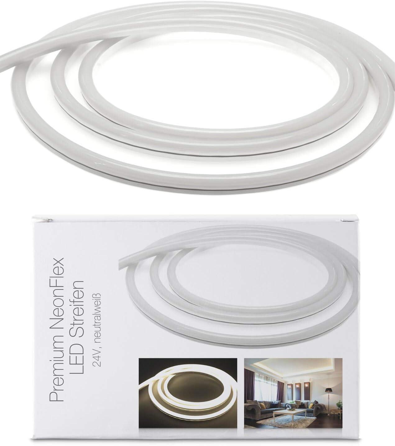 Tira de luces LED Neon Flex de 24 V, IP68, luz blanca neutra, 120 LED/m, 10 m