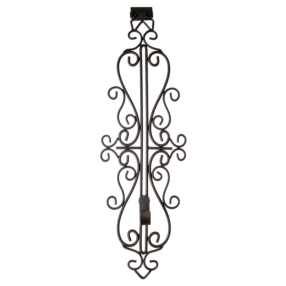 VILLAGE LIGHTING COMPANY Village Lighting Colonial Brown Wrought Iron Style Adjustable Height Wreath Hanger