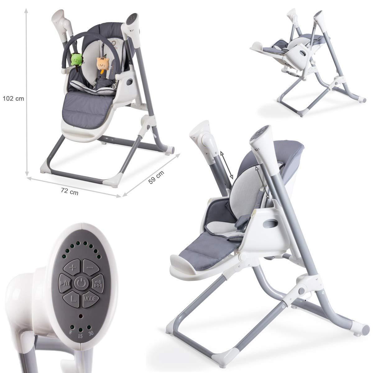 TERO-761 2in1 Babyhochstuhl Elektrische Babyschaukel Indigo grau