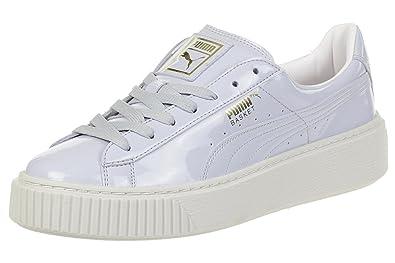 Details about Women's Shoe PUMA Basket Platform Patent Sneaker 363314 01 Halogen Blue *New*
