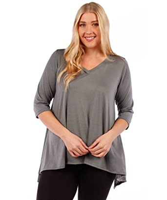b89543e006d YUMMY PLUS 3 4 Sleeve Plus Size Tunic Tops