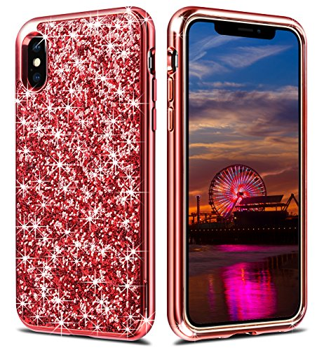 iPhone X Case,iPhone 10 Case,Wollony Luxury Slim iPhone X Bling Shiny Glitter Case with Soft Fiber Lining Cushion Hybrid Shock-Absorption Bumper & Anti-Scratch Back Cover for iPhone X/XS - Red