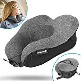 Travel Neck Pillow, Fosmon Soft and Comfortable Memory Foam Neck, Head & Chin Support Travel Pillow, Machine Washable 100% Cotton Cover for Airplane and Car - Dark Gray/Black