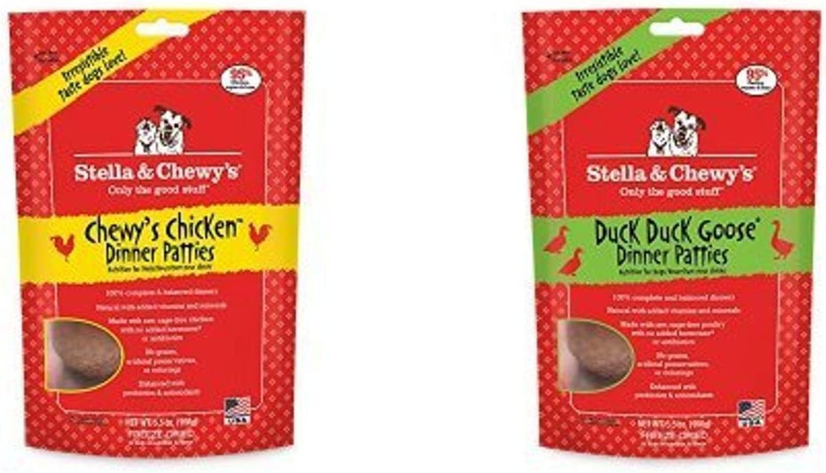 Stella & Chewy'S Freeze-Dried Raw Dinner Patties Dog Food Variety Pack Of 2 (Chicken And Duck), 5.5 Oz. Each