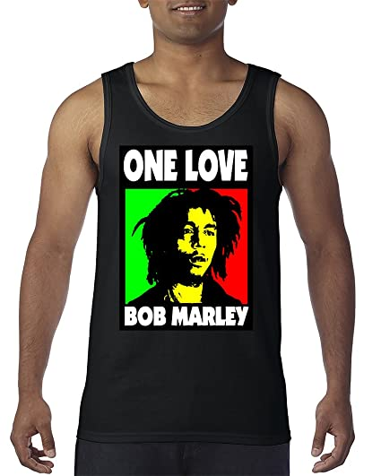 ed4c0781f9e4d7 Image Unavailable. Image not available for. Color  One Love Bob Marley Rasta  Weed Smokers Men s Tank Top