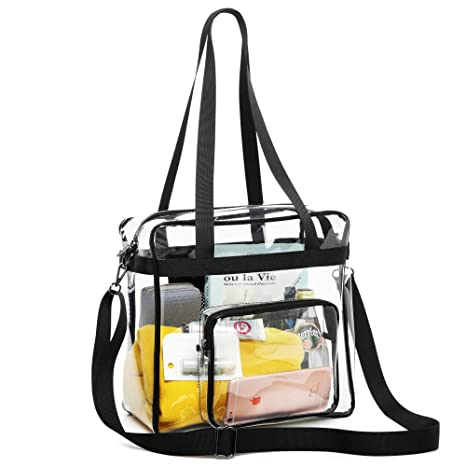 8b176d359b52 Clear Bag Stadium Approved, F-color NFL Approved Clear Tote Bag, Heavy Duty  and Waterproof Plastic Transparent Bag with Adjustable Strap Clear Purse ...