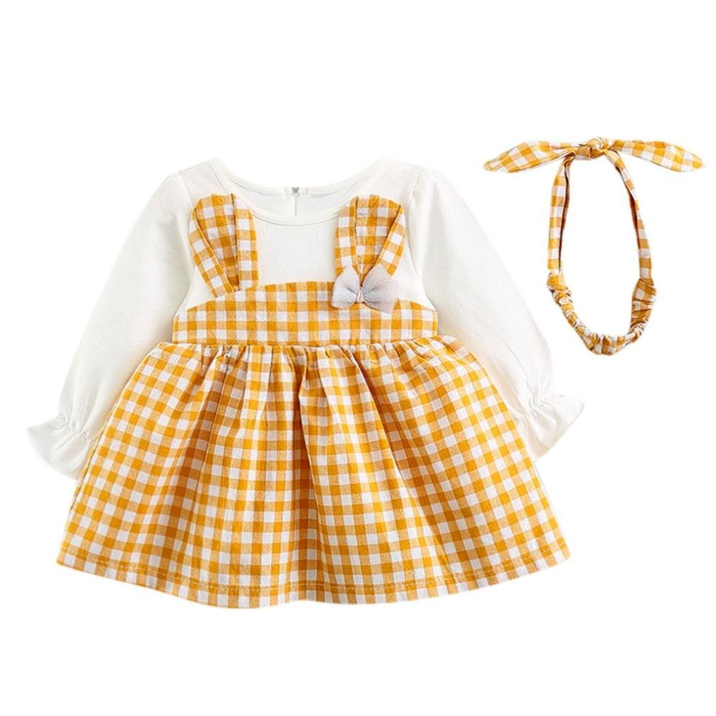 Baby Girls Dress for 0-24Months Kids, Iuhan Casual 2PCS Toddler Cute Rabbit Blouse Baby Girls Plaid Long Sleeve Princess Dress+Headband Set Outfits (0-6Months, Yellow) Iuhan ®