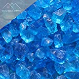 Blue Ridge Brand™ Light Blue Fire Glass - 50-Pound Professional Grade Fire Pit Glass - 1/2'' Fire Glass Bulk Pack - Glass Rock Contractor Pack