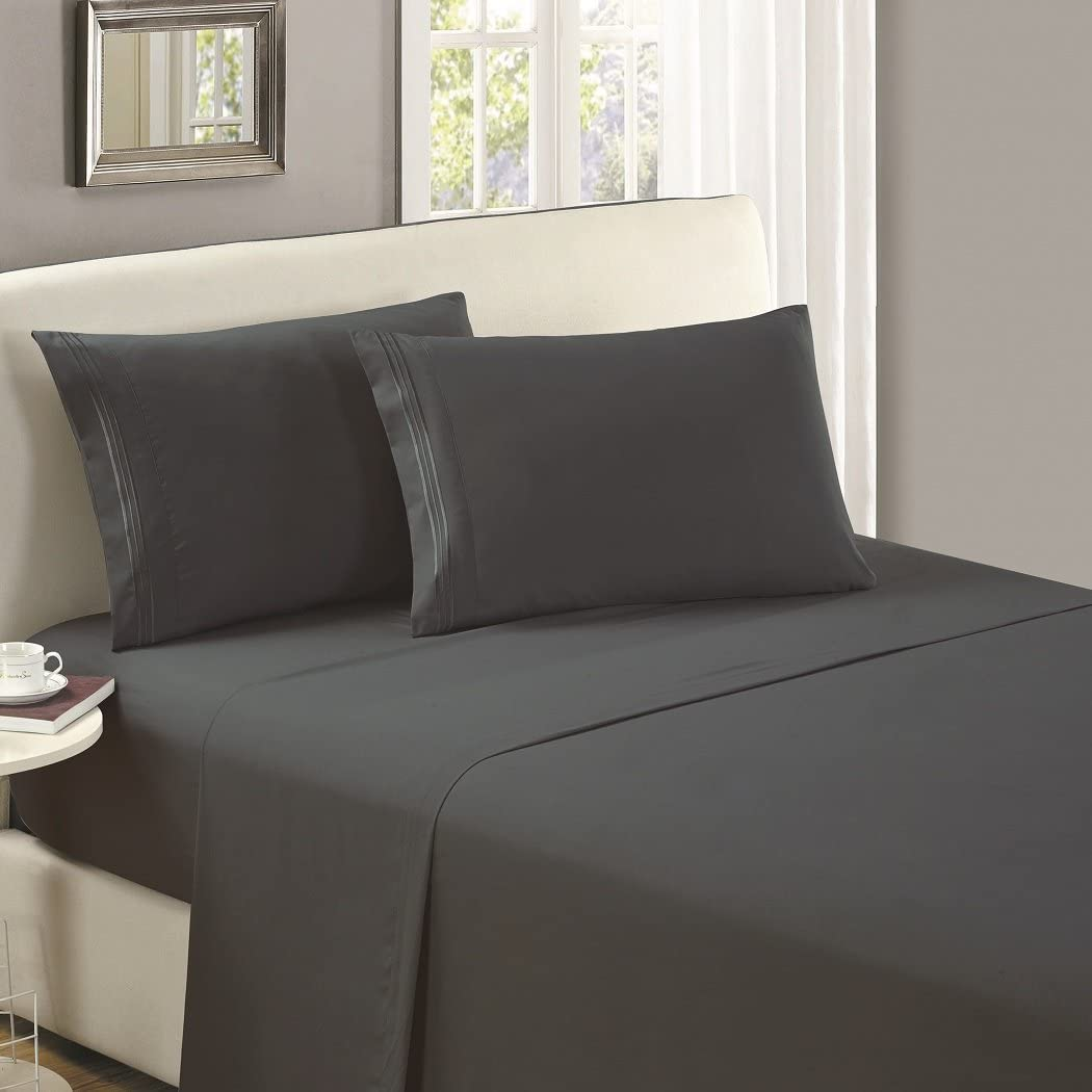 Mellanni Luxury Flat Sheet - Brushed Microfiber 1800 Bedding Top Sheet - Wrinkle, Fade, Stain Resistant - Ultra Soft - 1 Flat Sheet Only (King, Gray)