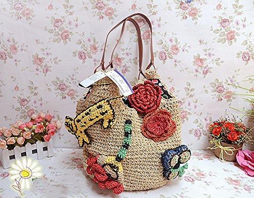 tonwhar Damen Animal Design Crochet handgefertigt Stroh Tasche beige nCaxV