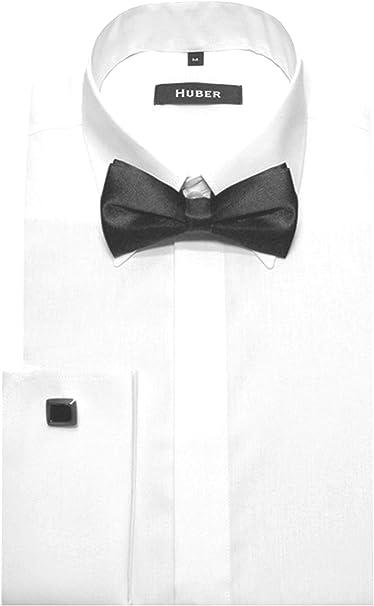 Huber Sobres Puños Camisa Blanco con pajarita Negro Botones Ocultos y cómodo 1011 S hasta 6 xl