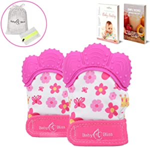 BabyBliss Teething Mittens (2pcs) - Pink - Self-Soothing Teether Toys for Girls - BPA-Free, Food-Grade Silicone Mitt - with Storage and Mesh Laundry Bags - Perfect