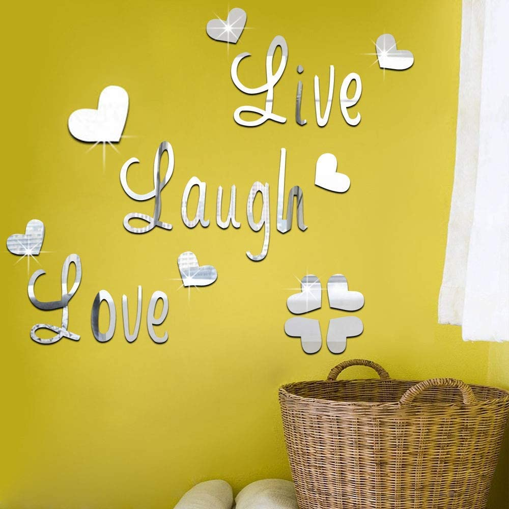 SITAKE 3D Acrylic Mirror Wall Decor Stickers, DIY Love Live Laugh Letter Heart Hibiscus Flower Composed Art Self-Adhesive Home Decorations for Living Room, Bedroom, Bathroom(3.6 Inch Silver Love)