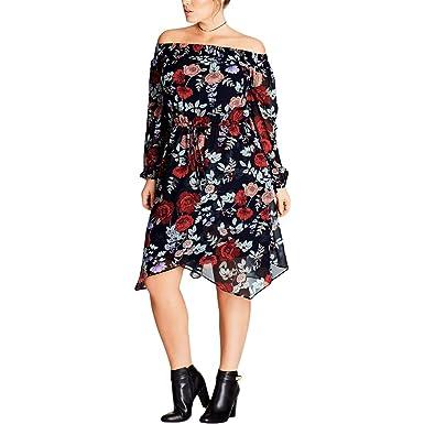 aa7d793f1f4 Dark Poppy Faux Wrap Dress - Size 18   M at Amazon Women s Clothing store