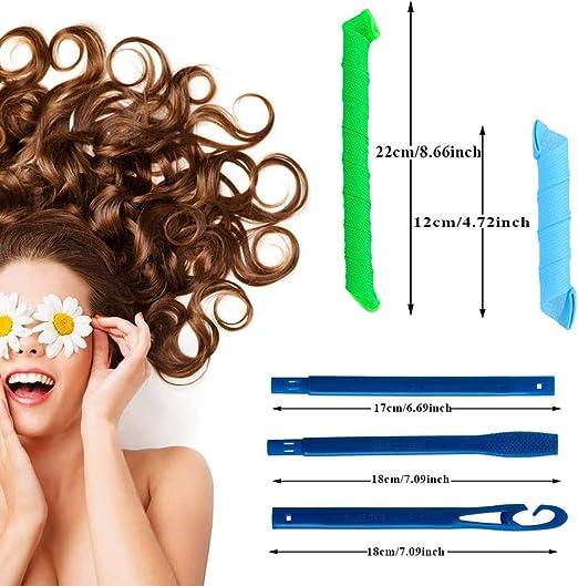 32pcs Magic Spiral Lockenwickler Set Haarstyling Werkzeuge Keine Hitze Flexible Diy Lockenwickler Mit Styling Haken Für Frauen Mädchen Grün Und Blau 30cm 55cm Drogerie Körperpflege