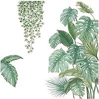 4 Stukken Diy Grote Muursticker Groene Plant, Palmboom Blad Muur Sticker, Geschikt voor Slaapkamer, Woonkamer, Eetkamer…