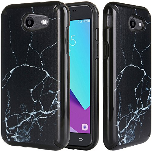 Luna Marble (Samsung Galaxy J3 Emerge Case,Black Marble,J3 Prime Case,Amp Prime 2 Case,Express Prime 2 Case,Sol 2 Case,J3 Mission Case,J3 Eclipse Case,DICHEER Hybrid Shockproof Dual Layer Protective Case)