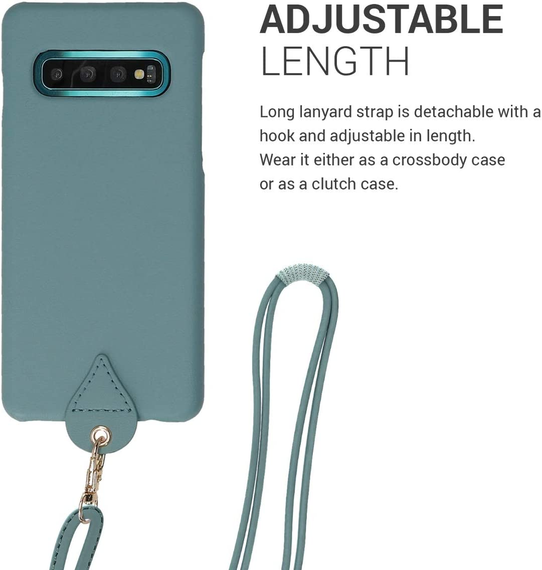 Light Blue kwmobile Crossbody Case Compatible with Samsung Galaxy S10 PU Leather Phone Cover Holder with Neck Cord Lanyard Strap