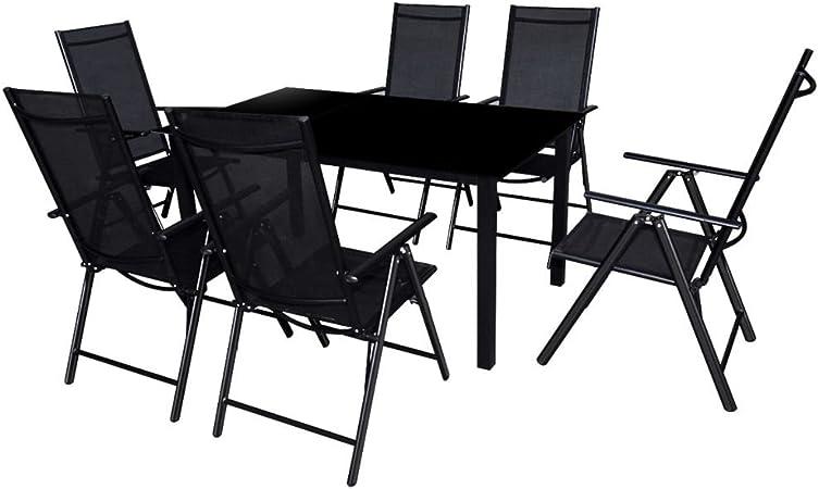 vidaXL Conjunto de Muebles de Jardín de Aluminio Textileno Negro Mesa 6 Sillas: Amazon.es: Hogar