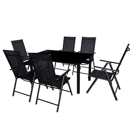 vidaXL Conjunto de Muebles de Jardín de Aluminio Textileno Negro ...