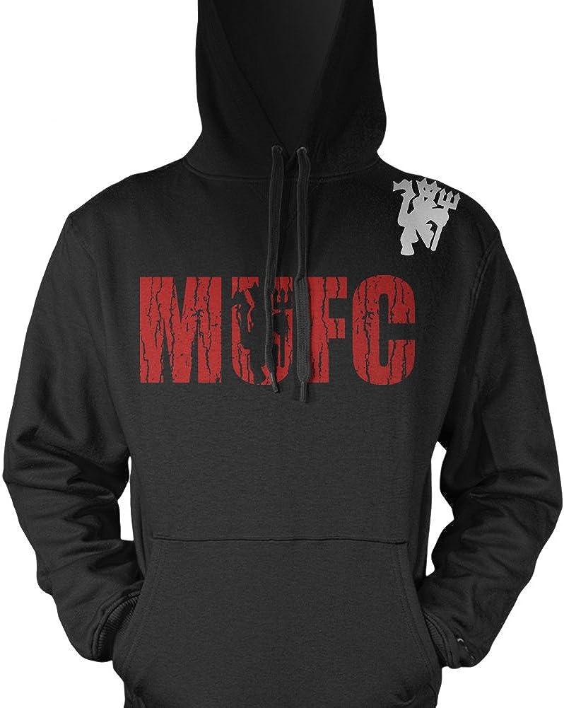 MMA Customs MUFC Manchester Devil Shield Logo Soccer Hoodie Size Small Black