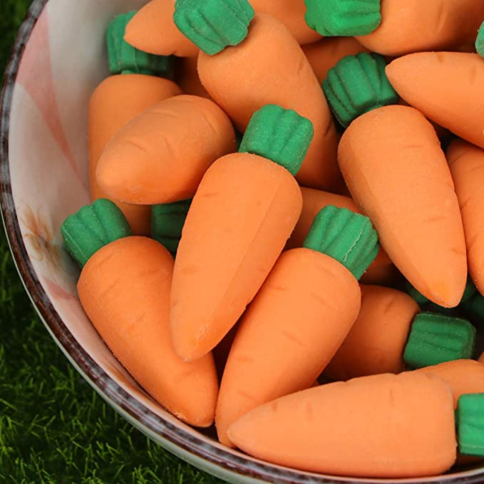 NUOBESTY Mini Carrot Erasers Pack of 30 Pencil Erasers for Kids Birthday Party Favors,School Classroom Rewards