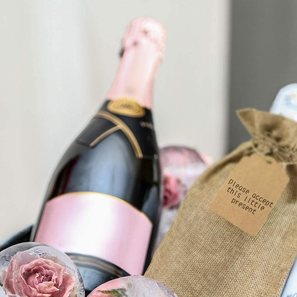12 Pezzi Riutilizzabili Borse Porta Vino e Etichette per Oro Argento Rosso Vino Champagne Spumante Canapa Colore Irich Sacchetti Portabottiglie Vino con Coulisse
