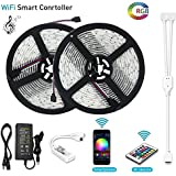 Battery powered led strip lights rf remote controlled multi color litake led strip lights wifi wireless smart phone app controlled light strip kit 328ft aloadofball Images