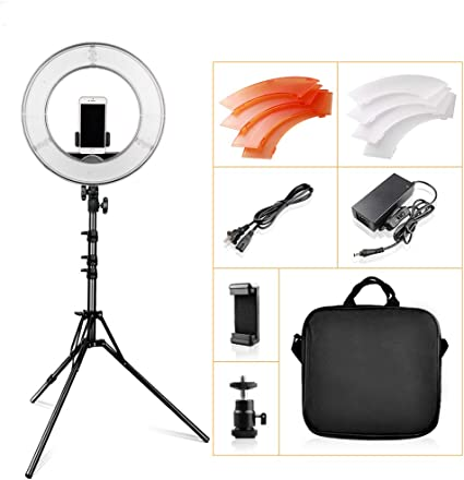 Ring LED light 12 inch dimmable 5500K round light with tripod suitable for studio photography ring photo makeup ring light
