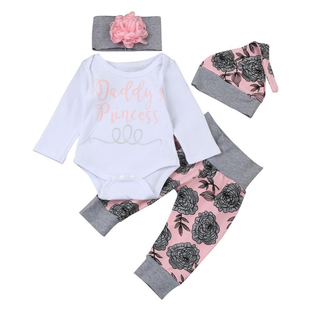 FNKDOR Baby Neugeborenen Mädchen Brief Strampler Tops Floral Hosen Mützen Stirnbänder Kleidung Set