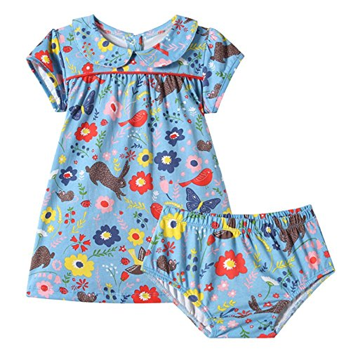 Girls Floral Dress,Little Girls Short Sleeve Summer Cotton Casual Dress Flower Dress Set 1-7T