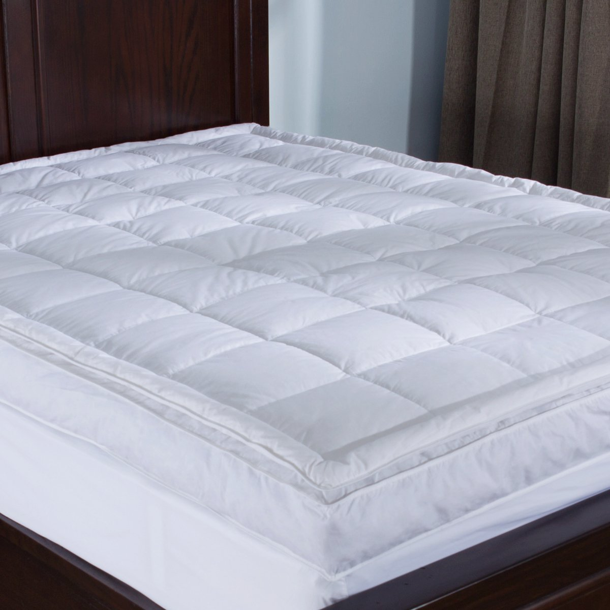 Puredown Luxurious Down-top Mattress Topper Baffle Box 4-inch Gusset Feather Bed (King)