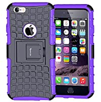 iPhone 6 Case,iPhone 6S Case,Armor Heavy Duty Protection Rugged Dual Layer Hybrid Shockproof Case Protective Cover for Apple iPhone 6 6S 4.7 Inch with Built-in Kickstand (Purple)