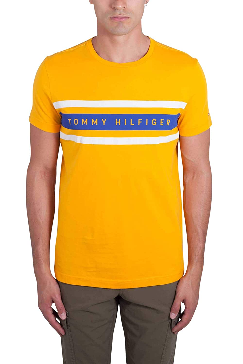 4560a7f9 Tommy Hilfiger Men's T-Shirt Yellow Yellow One Size: Amazon.co.uk: Clothing