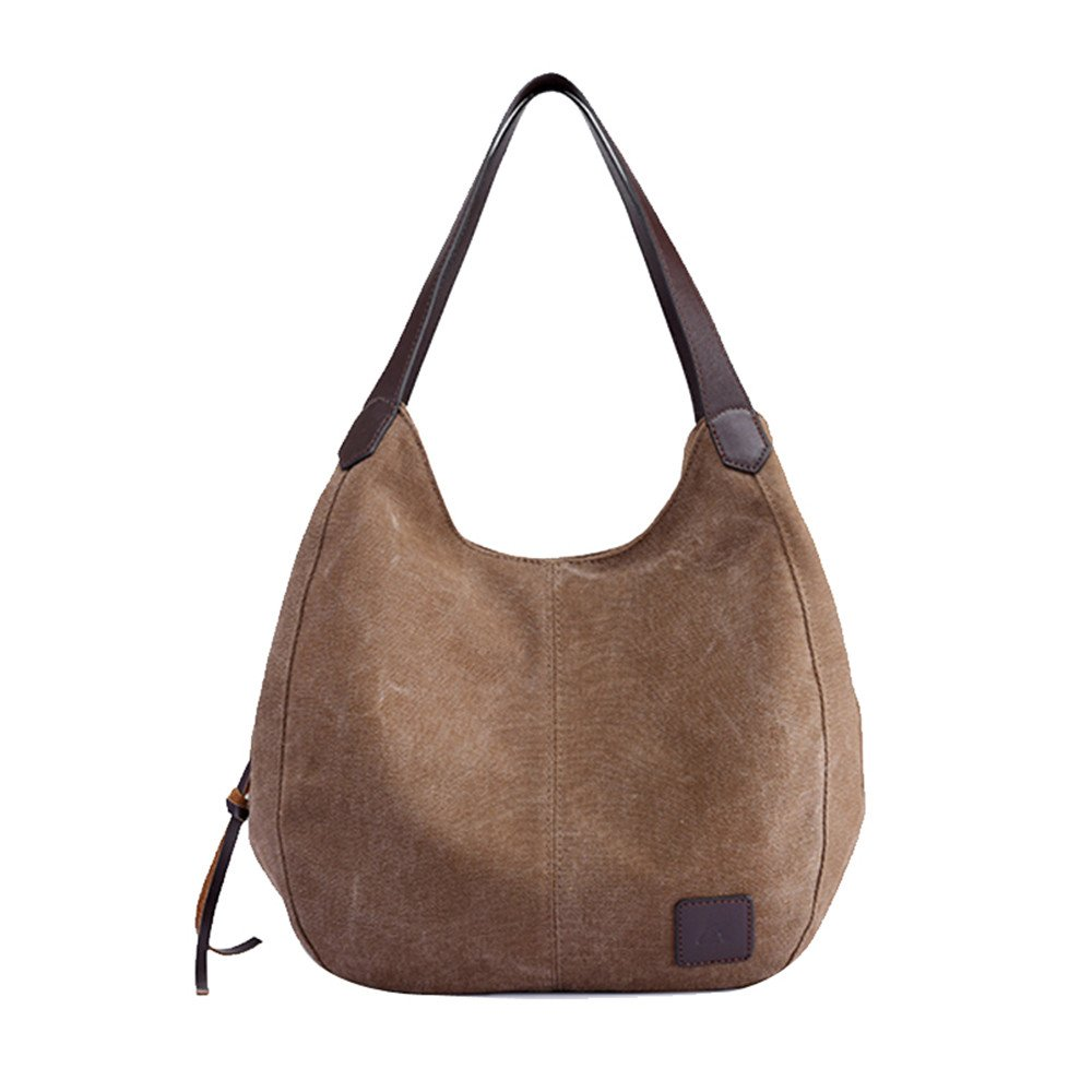 Clearance Sale! ZOMUSA Women's Casual Multi-Pocket Canvas Handbags Messenger Bag Tote Single Shoulder Shopping Bags (Coffee) by ZOMUSA