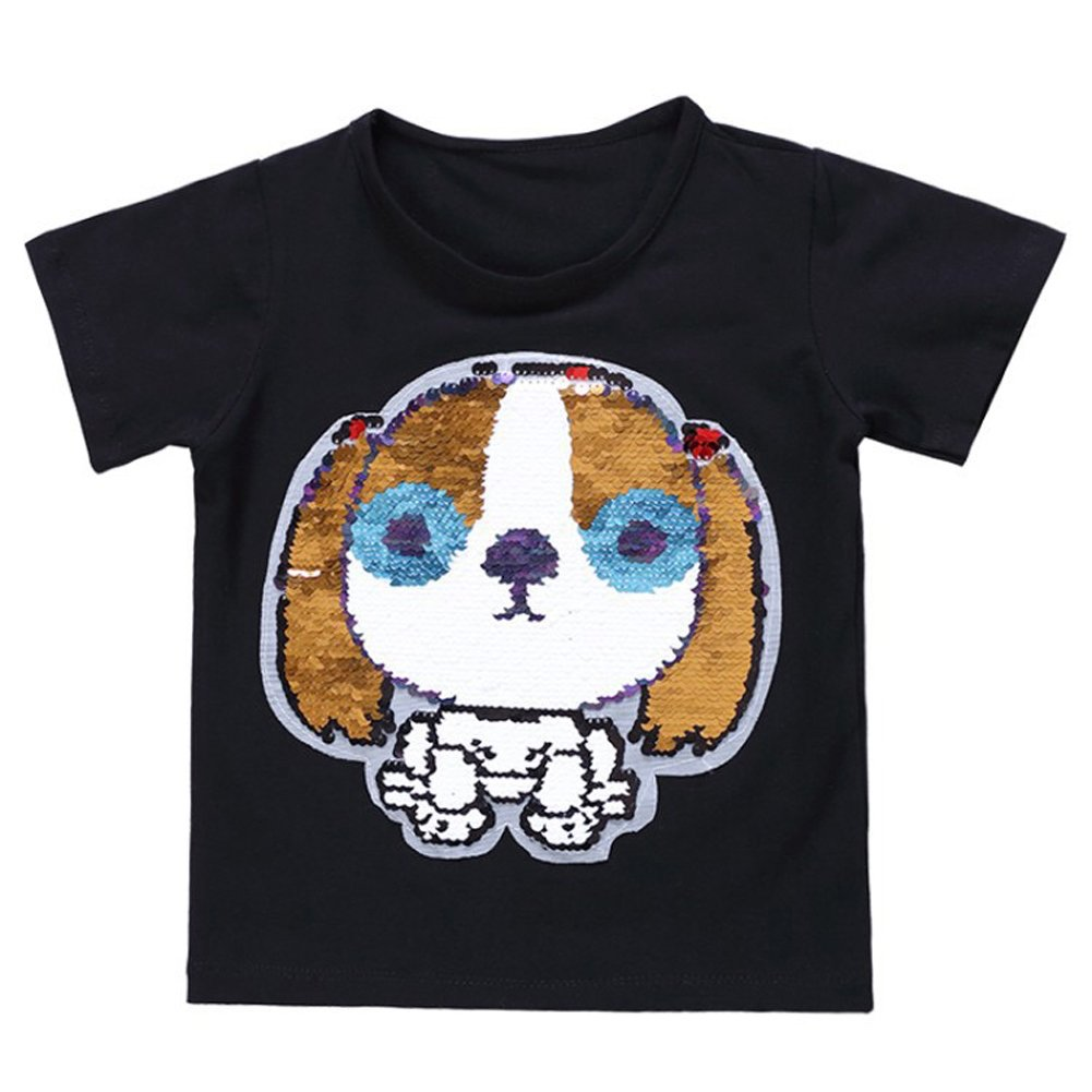 OWMMIZ Kid's T-Shirt for Short Sleeve Cotton Tee/Dog Sequin Print T Shirt Suitable for Boys and Girls (Black)