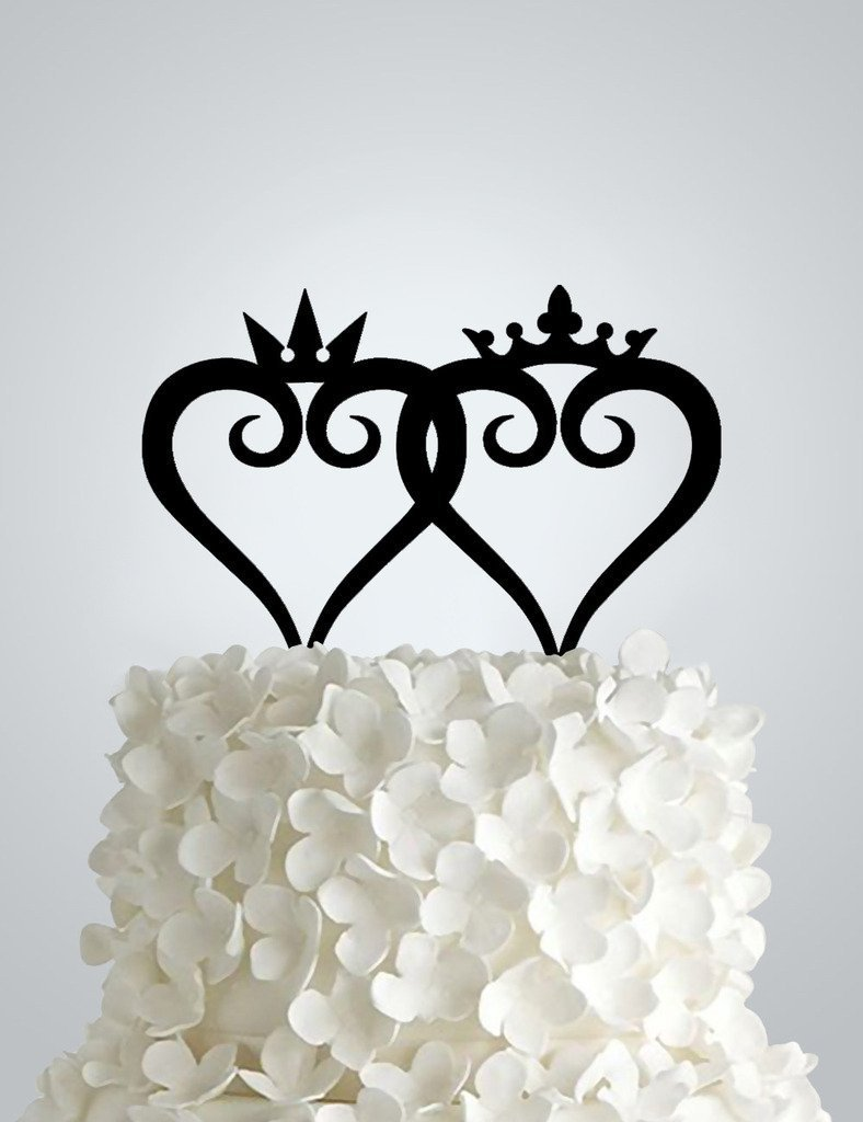 Acrylic Wedding cake Topper - Simple King and Queen Kingdom Hearts