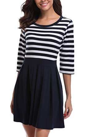 Sommerkleid Kurz Sexy Vintage Streifen Kleider 3 4 Arm Schwingen A-Linie  Elegant Blau 825fd3c533