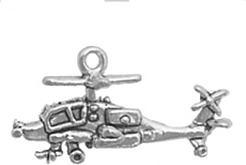 Sterling Silver Womens 1mm Box Chain 3D Apache Helicopter Gunship Pendant Necklace
