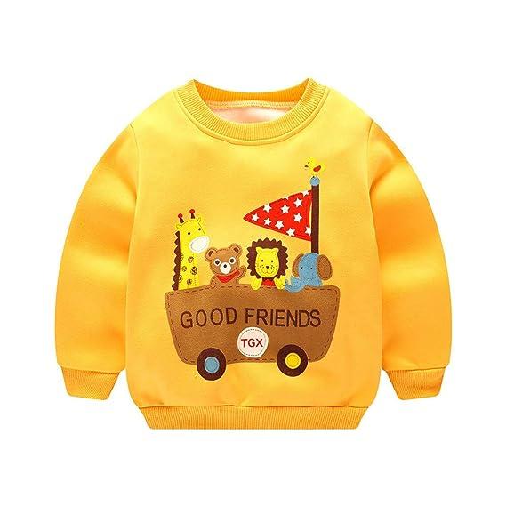 POLP Niño Invierno Unisex Camiseta de Manga Larga para niños Otoño Invierno Bebe  Niña Pulóver Camisa cfbf0caa7096