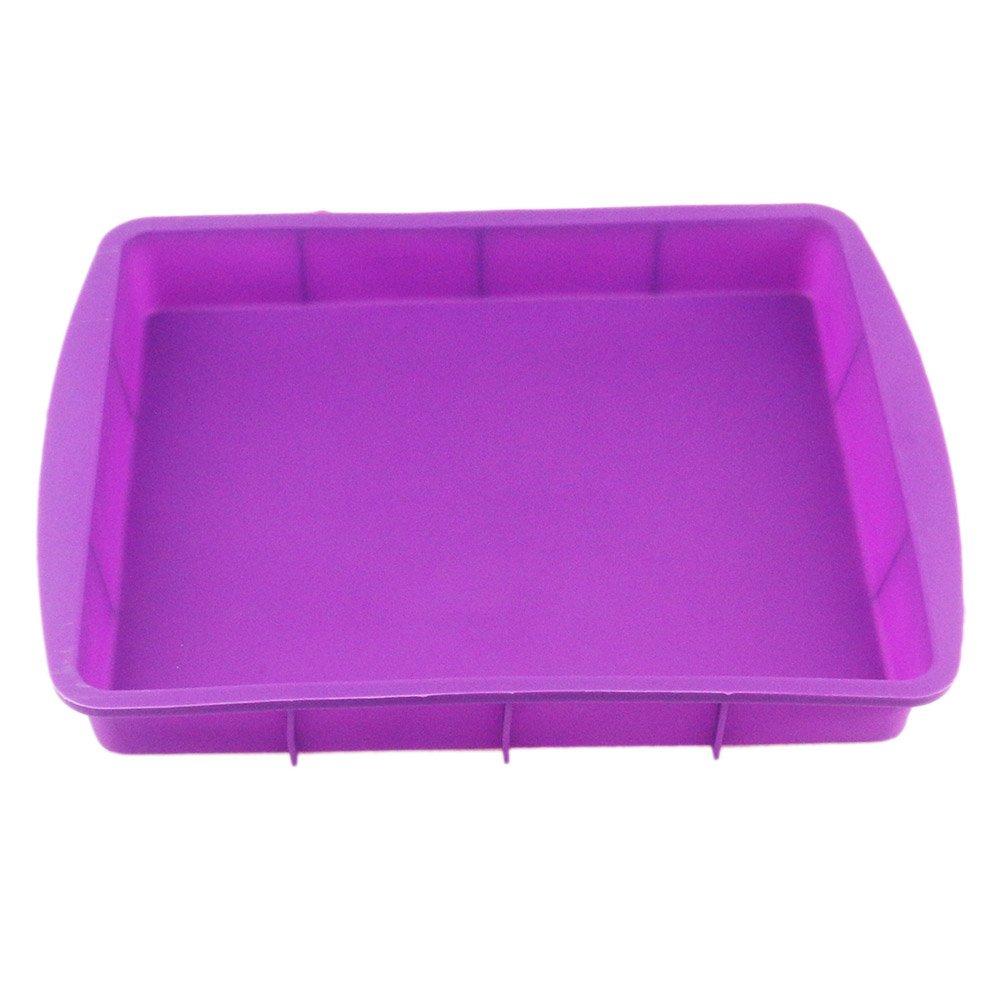 Orgrimmar Baking Silicone Rectangular Cake Pans Bakeware Bread Baking Mold NonStick Easy Demoulding Purple 2Packs (Pack of 2)