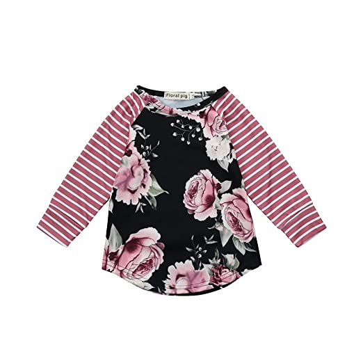 2d2853130 Amazon.com  iumei Baby Girls Blouse Tops Kids Flowers Long Sleeve ...