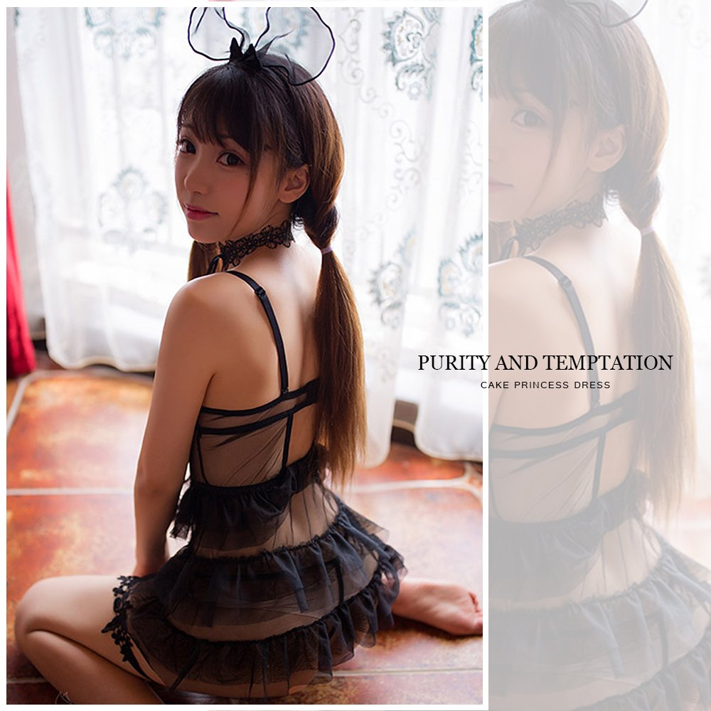 11e3a22de Amazon.com  TOMORI Womens Vintage Lace Lingerie Set Lolita Princess Cosplay  Costumes Cute Mesh Dance Dress (Black)  Clothing