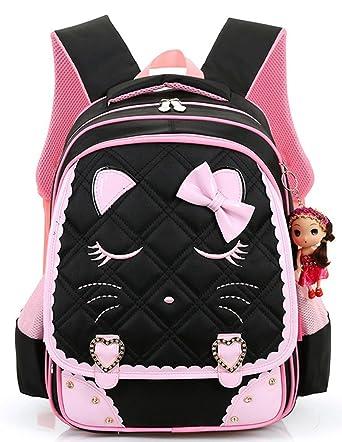 Efree Cute Cat Face Bow Diamond Bling Waterproof Pink School Backpack Girls  Book Bag (Large 2f230135de24c